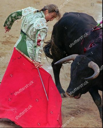 WOMAN BULLFIGHTER Spain's only female bullfighter Cristina Sanchez comes face to face with the bull during her fight in Madrid's las Ventas bullring . Despite traditional male dominance in bullfighting, according to many spectators, Sanchez outperformed her male colleagues May 1 and was loudly applauded by the Madrid public