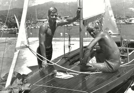 Stock Photo of British sailors Rodney Stuart Pattisson, right, and Ian MacDonald Smith, who will represent Great Britain in the 'Flying Dutchman' class at the forthcoming 1968 Summer Olympics, are seen aborad their yacht in Acapulco