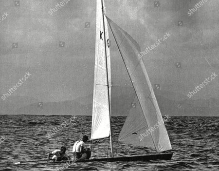 Stock Picture of British sailors Rodney Stuart Pattisson and Ian MacDonald Smith of Great Britain are seen in action during the 'Flying Dutchman' class at the 1968 Summer Olympics in Acapulco