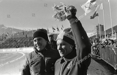 Soviet speed skaters Galina Stepanskaya, left, and Tatiana Averina in happy mood after winning and placing third in 1500-meter speed skating of Olympic Winter Games in Innsbruck, . Miss Stepanskaya clocked 2:16,58, Miss Averina 2:17,96