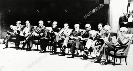 Editorial picture of 1981 Nobel Laureates, Stockholm, Sweden