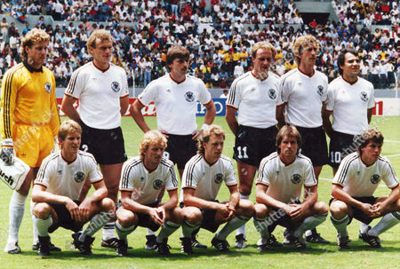 The German team line up for photographers before the start of the Football World Cup Semi-Final against France at Guadalajara, Mexico, on . Germany defeated France 2-0. From left to right front row; Karl-Heinz Foerster; Andreas Brehme; Wolfgang Rolff; Norbert Eder; Lothar mattaeus. Back row; Harald Schumacher; Hans-Peter Briegel; Klaus Allofs; Karl-Heinz Rummenigge; Ditmar Jakobs; Felix Magath