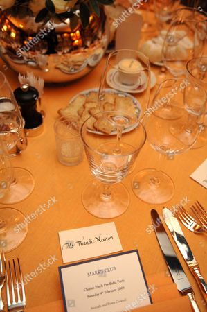 Thandie Newton's place setting for dinner