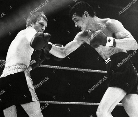 Alexis Arguello of Nicaragua in action against Jim Watt of Scotland at Wembley Arena in London