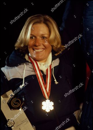 Stock Photo of Cindy Nelson Cindy Nelson of the U.S. wears her silver medal after downhill skiing in the Alpine World Ski championships at Schladming, Austria