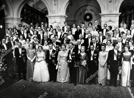 Members of the Royal families of Europe pose for a photo in the Amstel Hotel, Amsterdam, after a state dinner to celebrate the Silver wedding of Queen Juliana and Prince Bernhard of the Netherlands. From left to right front row only; Prince Philip of England; Grand Duchess Charlotte of Luxembourg; Queen Elizabeth II of England; Shah of Persia; Queen Juliana; Prince Bernhard; Princess Armgard Von Lippe-Biesterfeld, Bernhard's mother; Prince Jean of Luxembourg; Empress Farah Diba of Persia; Prince Felix of Luxembourg; Princess Marina of Kent