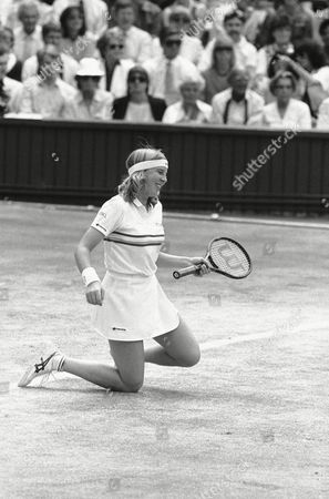 Andrea Jaeger Andrea Jaeger goes down onto her knees, but still smiles, after missing a shot from defending champion Martina Navratilova, during the Ladies Singles Final on Wimbledon's Center Court on . Navratilova won the match 6-0; 6-3, to retain the championship
