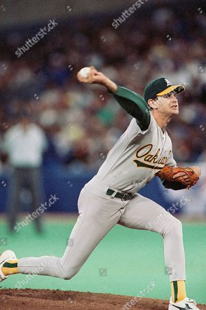 Oakland As pitcher Bob Welch fires the ball during the Toronto-Oakland game as the As moved to one game of winning the AL Championship Series with their 6-5 victory over the Blue Jays, Toronto, Canada