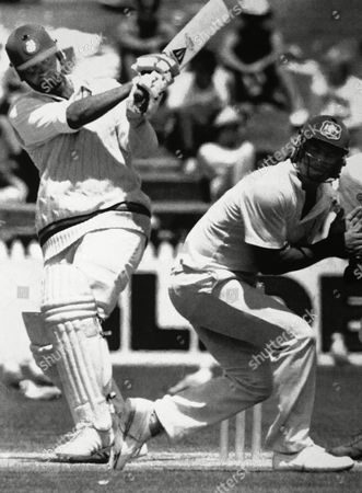 Tailender batsman Phil Edmonds helped to hold off the Australian attack with this fine shot off Peter Sleep. Geoff Marsh is in the danger zone and ducks to avoid the shot, during play in the third test at Adelaide Oval in Adelaide, Australia on . The match ended in a draw