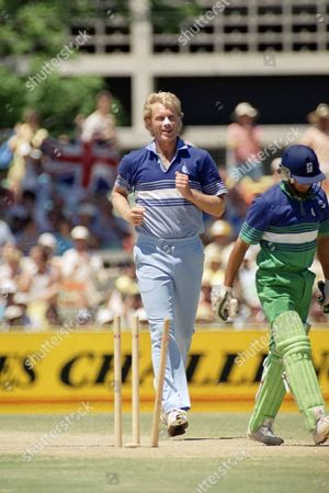 English bowler Graham Dilley bounced to the pitch after bowling Pakistan's opening batsman Shoaib Mohammad for a duck in the first over of play in the One Day final at the WACA in Perth, Australia on