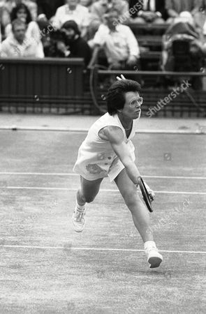 Billie Jean King Veteran Billie Jean King, 39, stretches out across Wimbledon's Center Court on to return a shot from Andrea Jaeger, during their Ladies Singles semi-final match. Billie Jean, winner of twenty Wimbledon titles, the first of which was in 1961-before 18-year-old Jaeger was born - was defeated 1-6; 1-6, and said afterwards, that it might be her last appearance on Wimbledon's Center Court