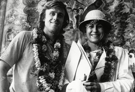 Bjorn Borg, Mariana Simionescu Borg Bjorn Borg, Sweden's International tennis star and his wife Mariana, garlanded by welcomers stand before a Tibetan scroll painting after their arrival in Kathmandu, Nepal