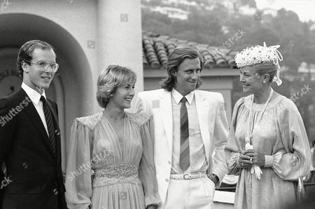 Bjorn Borg, Grace Kelly, Mariana Simionescu, Albert Alexandre Louis Pierre Grimaldi During a party given for the friends of Swedish Tennis champion Bjorn Borg, who two days ago married Mariana Simionescu in Bucharest. The newly-wed couple pose with Princess Grace of Monaco, right, and her son Prince Albert, left