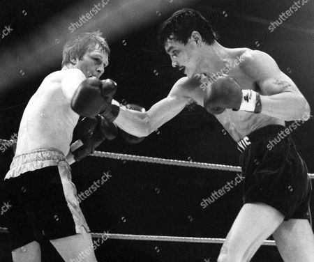 Jim Watt of Scotland, left, and Alexis Arguello of Nicaragua during their 15 round World Boxing Championship title fight, at Wembley Arena, London, on . Arguello outpointed Watt to win the title