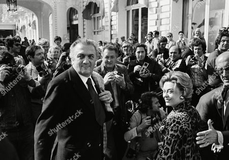"Federico Fellini, Giulietta Masina Italian Director Federico Fellini and wife Giulietta Masina arriving at Cannes, for the opening of the 27th International Film Festival. Fellini's film ""Amarcord"" opened the Festival"