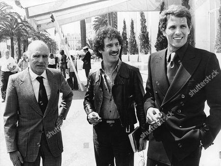 """Italian director Luigi Comencini and actors Brizio Montinaro and Giuliano Gemma at International Film Festival, Cannes, May 1974, to present """"Delitto d'Amore"""