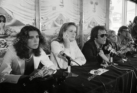 "Italian actress Stefania Sandrelli, Dominique Sanda, director Bernardo Bertolucci and Laura Betti during a press conference before the presentational at the Cannes International Film Festival of Italian film ""Novecento"
