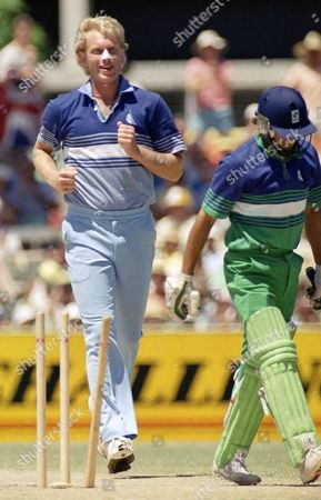 English bowler Graham Dilley after bowling Pakistan's opening batsman Shoaib for a duck in the first over of play in the One Day final at the WACA in Perth, Australia . Dilley England fast bowler who took 138 wickets in 41 test appearances, has died following a short illness, the England and Wales Cricket Board said . He was 52