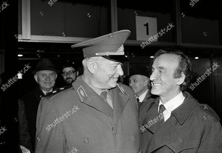 Nobel Peace prize winner Elie Wiesel, arriving on in Moscow, greets Gen. Vasily Petrenko, one of the Soviet liberators of Auschwitz in 1945