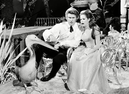 "American actor Chuck Connors and Italian actress Luciana Paluzzi, with a Pelican named Fred on the set of ""Captain Nemo and the Floating City,"" an MGM film under production at Borehamwood Studios, England, on"