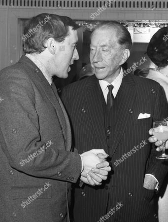 Television personality David Frost, left, talks with Jean Paul Getty at the Foyles Book Luncheon held at the Dorchester Hotel in London, England on . The luncheon marked the publication of, To England With Love, by David Frost and Antony Jay, unseen