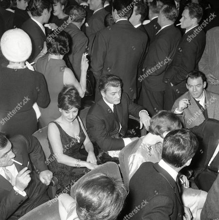 Jean Marais; Magali Noel French actor Jean Marais, at center second from right, and Turkish-French actress Magali Noel attend in January 1961 the premier of the new Edith Piaf show at the Olympia in Paris, France