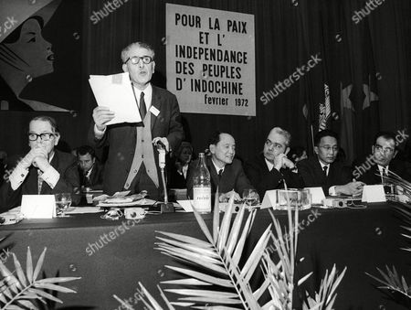 1,200 delegates from 75 countries attended in Versailles near Paris, France, the opening of the World Assembly for Peace in Indochina. Here at rostrum left to right are: Bertif Svanstrom, President of Stockholm Conference; Andre Souquire, reading telegram of Picasso; Hoang Quoc, Vietnam chief of North Vietnamese delegation; Laurent Lucas, of the French Unions (CFDT); Thiounn Prasith of Cambodia and Georges Marcahis of the French Communist Party