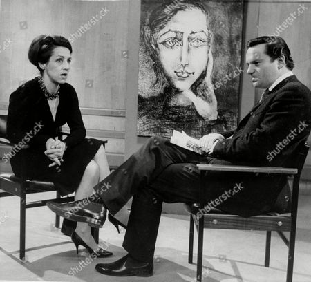 """Francoise Gilot, Pablo Picasso's mistress from 1943 to 1953, and mother of two of the painter's children, is interviewed by Reginald Bosanquet in London for a television program, in connection with the publication of her book, """"My Life With Picasso"""