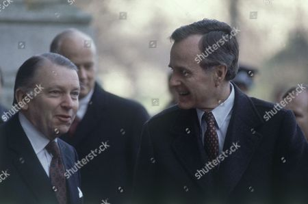 U.S. Vice-President George H. Bush in London with British foreign Secretary Francis Pym