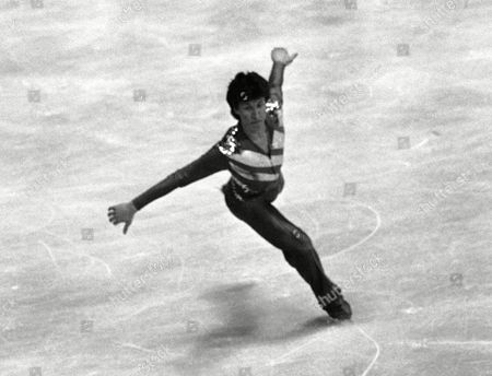 Norbert Schramm from West Germany performs his free skating in the men's competition to catch the gold medal in the European Figure Skating Championships in Dortmund, West Germany on