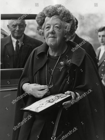 74-year-old British actress Dame Margaret Rutherford is pictured in the grounds of Buckingham Palace, London, England, shortly after eceiving her Order of the British Empire. It was presented to her by her Majesty Queen Elizabeth II