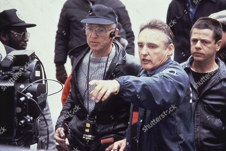 """Haskell Wexler, Dennis Hopper Director Dennis Hopper with cinematographer Haskel Wexler during the making of the movie """"Colors"""" in 1988"""
