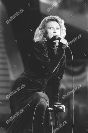 "Our AP-picture shows chanson singer Ingrid Caven on at the Berlin Philharmonie, Germany during the televised music show ""Liedercircus"