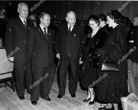 At a reception held by the International Olympic Committee at the Oslo City Hall, left to right, are: Jerzy Loth, Polish delegate; Konstantin Adrianov, president of the Russian Olympic Committee; Siegfried Edstrom, president of the International Olympic Committee; Princess Josephine Charlotte of Belgium; and Princess Fleming of Denmark