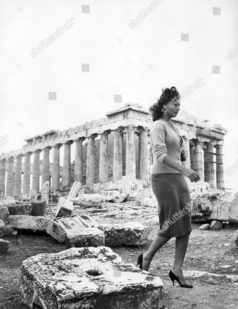 Sophia Loren Italian screen star Sophia Loren on the acropolis, with the Parthenon in the background, during a sight-seeing tour of Athens, Greece, . She is in Athens for scenes of the film ?boy on the Dolphin,? in which she co-stars with Alan Ladd and Clifton Webb. Scenes are to be shot in the Aegean Sea