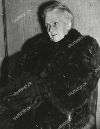 Stock Image of Italian educator Maria Montessori, world renown pedagogue and founder of the Montessori Schools, is seen prior to the start of a series of her lectures, in Rome, Italy