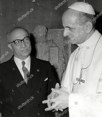Paul VI Pope Paul VI (Giovanni Battista Montini) who is about to fold his hands talks to Amintore Fanfani at the Vatican