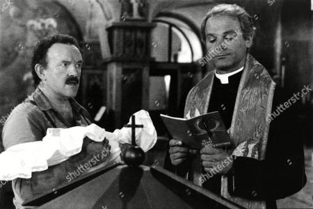 """Terence Hill is shown with actor Colin Blakely (left) in a scene from the movie """"Don Camillo"""" based on Giovanni Guareschi's novels, . The film was shot in Northern Itlay and at Cinecitta studios in Rome"""