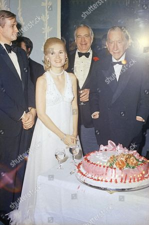 Paul Getty, Patricia Cox J. Paul Getty celebrates his 80th birthday at a party at the Dorchester Hotel in London on . Among the dignitaries that were there: Patricia Cox, Dau. of President Nixon, Ambassador Walter Annenberg, Ex-King Umberto of Italy, the Dutchess of Argyll, Margaret, who have the party and Charles Clore, millionaire financier, and others