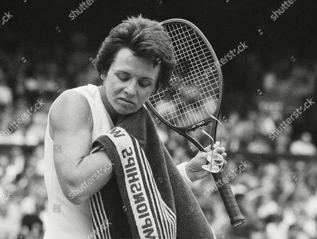 Veteran Billie Jean King wipes her neck, during a break in her Ladies Singles Semi-final match against Andrea Jaeger, on Wimbledon's Centre Court . Jaeger won the match, and will meet Martina Navratilova in the final of the tournament