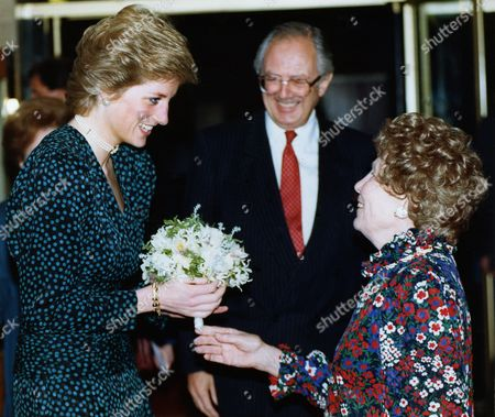 Gretchen Franklin, right, who plays Ethel in the British television soap Eastenders, greets Britain's Princess of Wales to the Help The Aged lunch at the Hilton Hotel, London, on . The Princess, Patron of the organisation, was at the function to present achievement awards to the aged