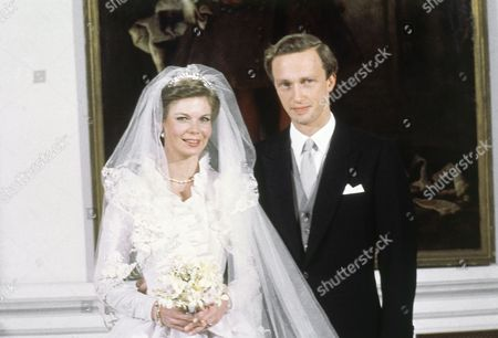 Princess Marie-Astrid of Luxembourg, and her groom, the Austrian Archduke Christian of Habsburg-Lothringen at Luxembourg's Palace after their wedding on