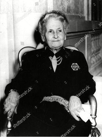 Montessori Dr. Maria Montessori, Italian education expert and founder of the Montessori schools, is shown on