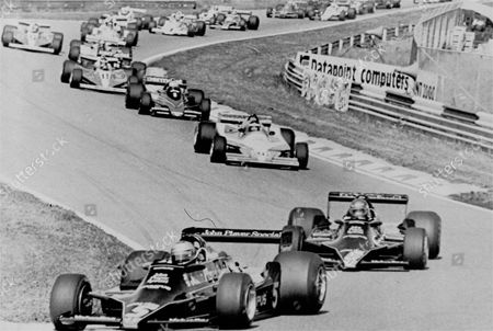 Mario Andretti led the field, in the first lap of the Dutch Formula One Grand Prix, and Sweden's Ronnie Peterson was a close second. That was the order in which they finished with Andretti's victory virtually assuring him of the 1978 Formula One World Championship