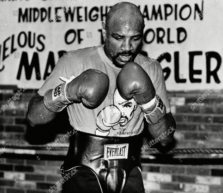 Middleweight Training Champion Marvin Hagler works at his training camp in Provincetown, Massachusetts., Hagler in preparation of his upcoming title defense. Hagler will be meeting Tony Sibson in Worcester Feb.11 for the title match