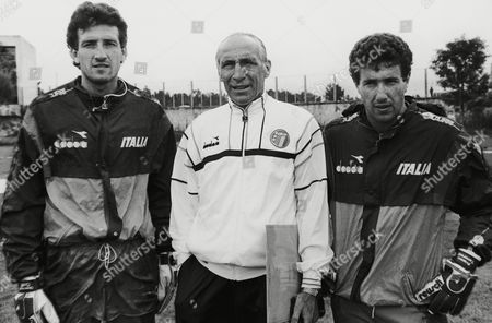 Stock Picture of Enzo Bearzot, Coach of the Italian team, is flanked by two of the three goalkeepers of the team, Giovanni Galli, left, and Franco Tancredi at training session in Puebla on . Italy are preparing for their next match against Argentina