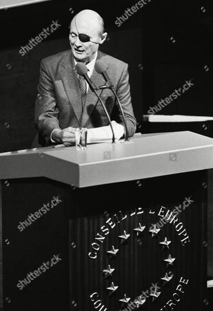Israel's Foreign Minister Moshe Dayan delivers his speech on the Middle East situation to the European Council on in Strassburg, Germany. Dayan spoke after his Egyptian colleague Boutros Boutros-Ghali addressed the group
