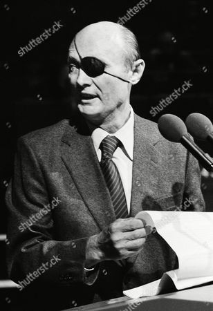 Israeli Foreign Minister Moshe Dayan, delivering his speech at the Middle East situation to the European council Wednesday, Oct. 10. 1979 in Strassburg, Germany