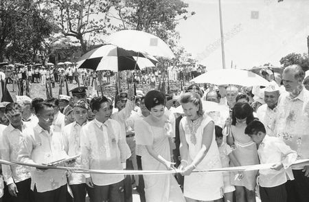 Editorial image of Mrs. Marcos and Mrs.Nancy Williams Cutting Ribbon, Corregidor, Philippines