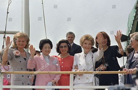 Wives of the leaders attending the Economic Summit in Toronto wave as they leave on a boat tour in Toronto Harbor on . They are L-R: Hannelore Kohl, West Germany; Naoko Takeshita, Japan; Anna Maria De Mita, Italy; Nancy Reagan, United States; and Mila Mulroney, Canada